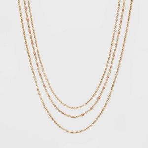 Layered Enamel Dotted Chain Necklace - Light Pink